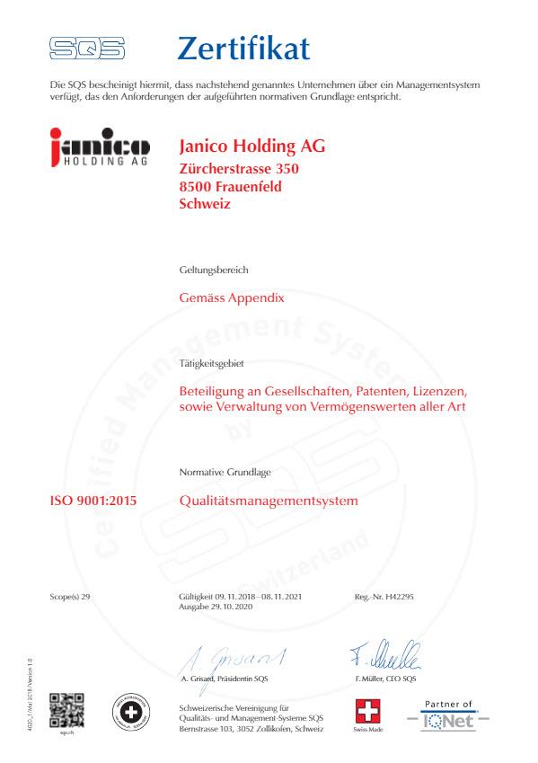 Plica SQS Zertifikat